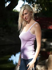 Curvy Blonde Amateur Posing Outside